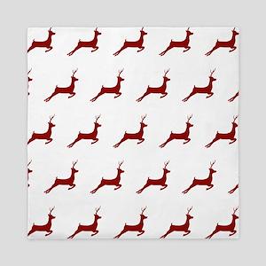 Christmas Dark Red Deer Pattern Queen Duvet