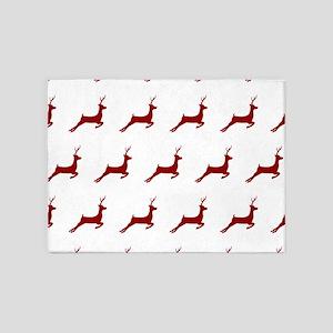 Christmas Dark Red Deer Pattern 5'x7'Area Rug