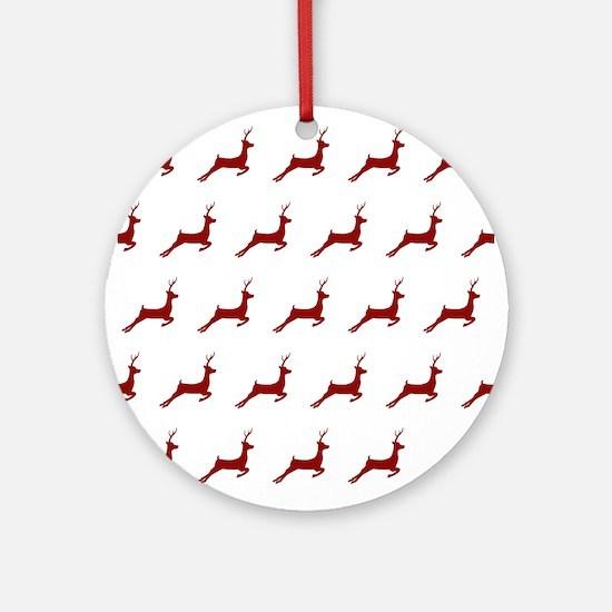 Christmas Dark Red Deer Pattern Round Ornament