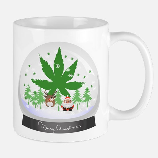 Merry Christmas Marijuana Snow Globe Mug