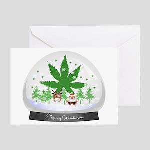 Merry Christmas Marijuana Snow Globe Greeting Card