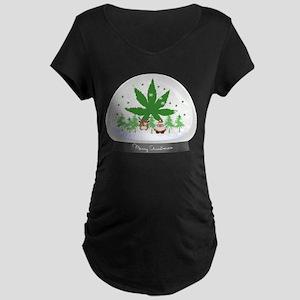 Merry Christmas Marijuana S Maternity Dark T-Shirt