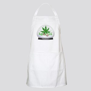 Merry Christmas Marijuana Snow Globe Apron