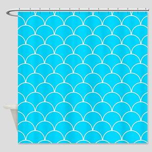 Aqua Blue Scallop Pattern Shower Curtain