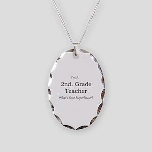 2nd. Grade Teacher Necklace Oval Charm