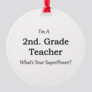 2nd. Grade Teacher Round Ornament