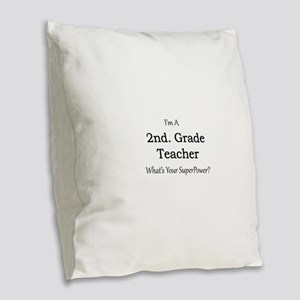 2nd. Grade Teacher Burlap Throw Pillow