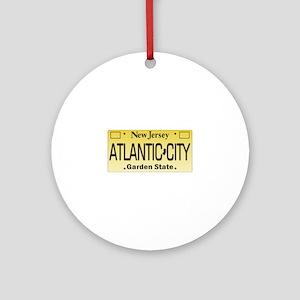Atlantic City NJ Tag Giftware Round Ornament