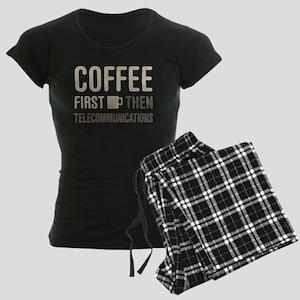 Coffee Then Telecommunicatio Women's Dark Pajamas