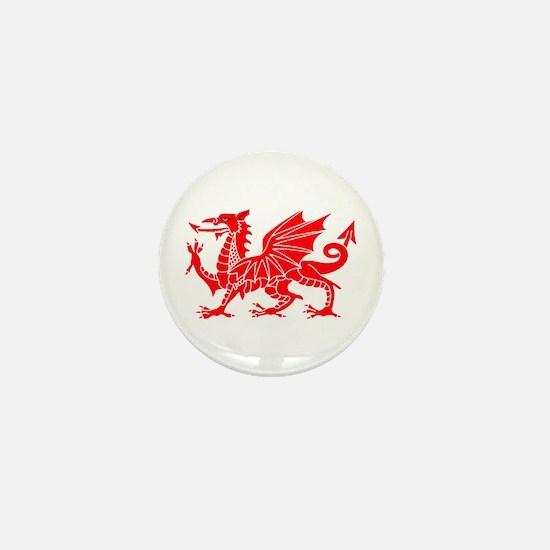 Welsh Dragon Y Ddraig Goch Mini Button