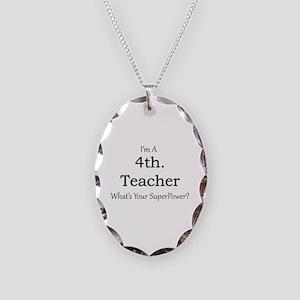 4th. Grade Teacher Necklace Oval Charm