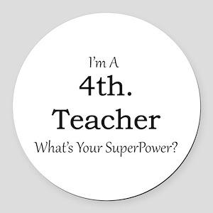 4th. Grade Teacher Round Car Magnet