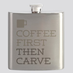 Coffee Then Carve Flask