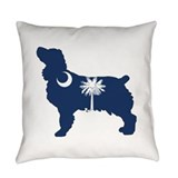 South carolina palmetto tree crescent moon Woven Pillows