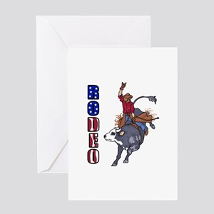 RODEO BULL RIDER Greeting Cards