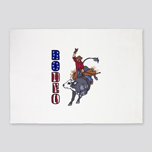 RODEO BULL RIDER 5'x7'Area Rug