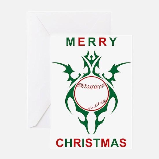 merry christmas baseball greetings Greeting Cards