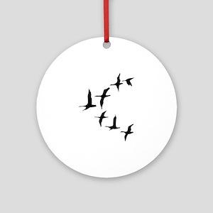 DUCKS IN FLIGHT Round Ornament