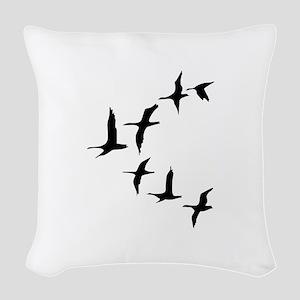 DUCKS IN FLIGHT Woven Throw Pillow
