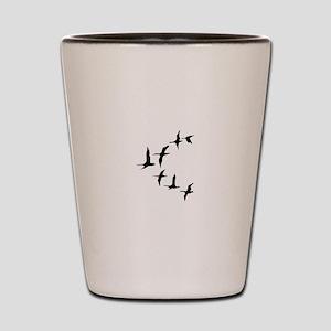 DUCKS IN FLIGHT Shot Glass