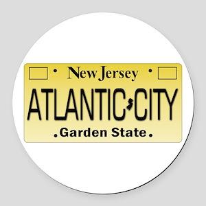 Atlantic City NJ Tag Giftware Round Car Magnet