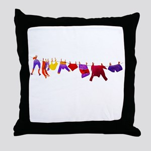 Kids clothes drying Throw Pillow