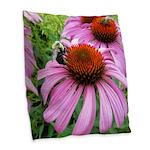 Bumblebee on Purple Illinois Coneflower Burlap Thr