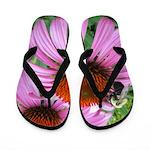 Bumblebee on Purple Illinois Coneflower Flip Flops