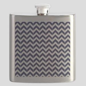 Navy Blue Herringbone Pattern Flask