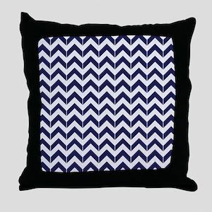 Navy Blue Herringbone Pattern Throw Pillow