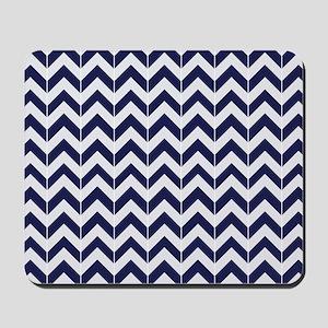 Navy Blue Herringbone Pattern Mousepad