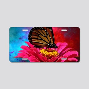 turquoise pink girly butter Aluminum License Plate
