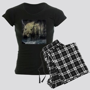 cabin rustic grizzly bear Women's Dark Pajamas