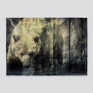 cabin rustic grizzly bear 5'x7'Area Rug