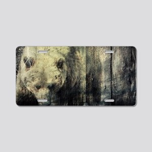 cabin rustic grizzly bear Aluminum License Plate