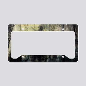 cabin rustic grizzly bear License Plate Holder