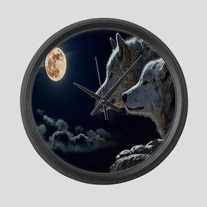 Full Moon Wolves Large Wall Clock