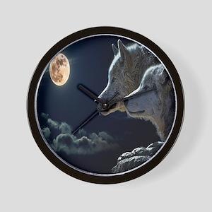Full Moon Wolves Wall Clock