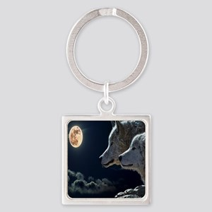 Full Moon Wolves Square Keychain