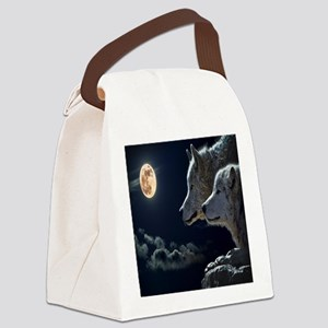 Full Moon Wolves Canvas Lunch Bag