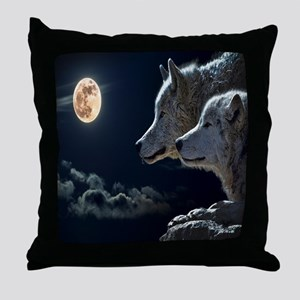 Full Moon Wolves Throw Pillow