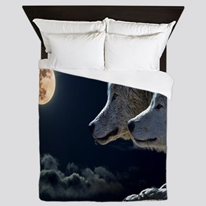 Full Moon Wolves Queen Duvet