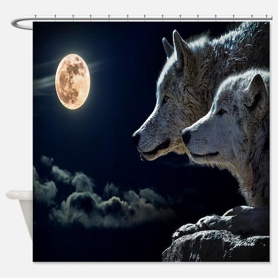 Full Moon Wolves Shower Curtain