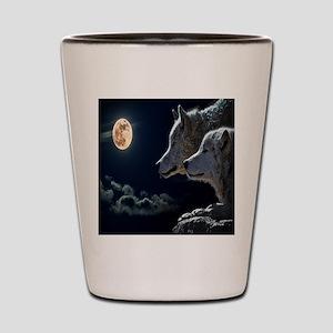 Full Moon Wolves Shot Glass