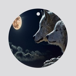 Full Moon Wolves Round Ornament