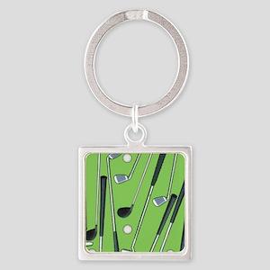 Golfing Square Keychain