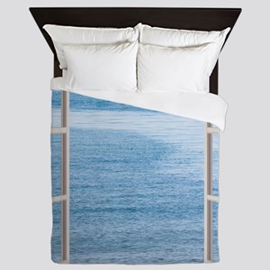 Ocean Scene Window Queen Duvet