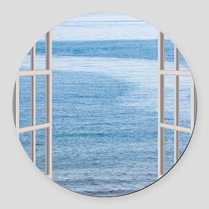 Ocean Scene Window Round Car Magnet