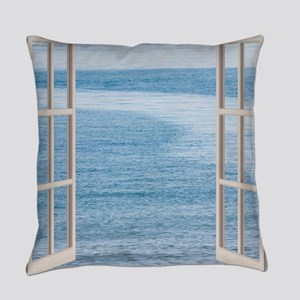 Ocean Scene Window Everyday Pillow