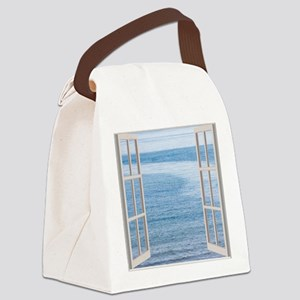 Ocean Scene Window Canvas Lunch Bag